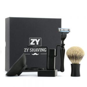 ZY-Men-Shaving-Brush-Gift-Set-3-Blade-Safety-Razor-Stand-Holder-FINEST-Badger-Hair-Brush